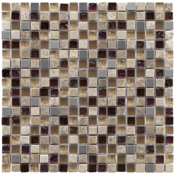 Sierra 0.58 x 0.58 Glass/Natural Stone/Metal Mosaic Tile in Brown/Cream by EliteTile