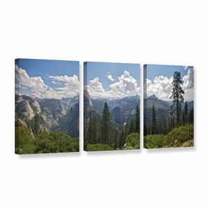 Yosemite-Half Dome And Nevada Falls by Dan Wilson 3 Piece Photographic Print on Wrapped Canvas Set by ArtWall