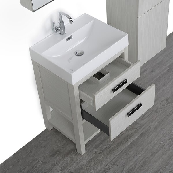 24 Wall-Mounted Single Bathroom Vanity Set with Mirror