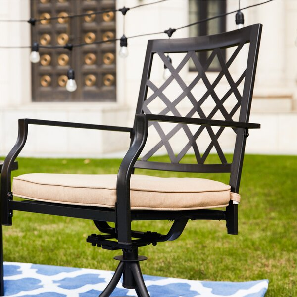 Callicles Swivel Patio Dining Chair with Cushion by Red Barrel Studio