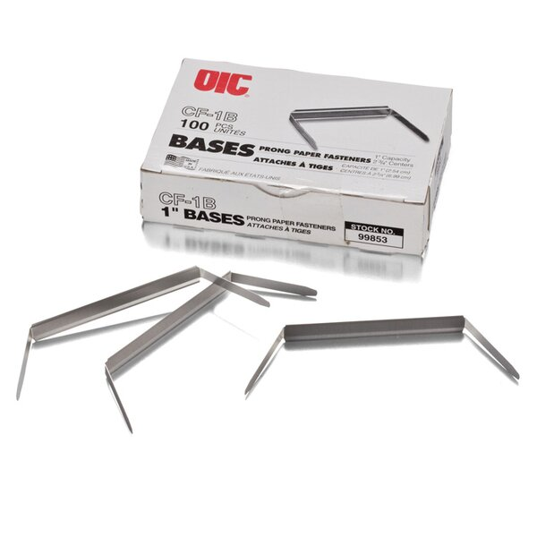 Standard Tempered Steel Prong Bases for Paper Fasteners, 2 Capacity, 100/Box by Officemate International Corp