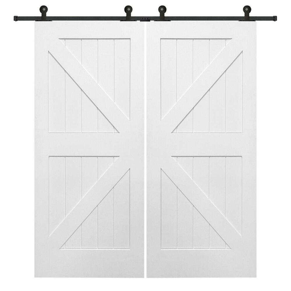 Verona Home Design Double Stile And Rail K Planked Mdf 4 Panel White Interior Barn Doors Wayfair