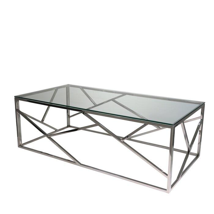 Orren Ellis Stainless Steel And Glass Coffee Table Reviews Wayfair