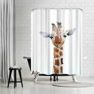 Compare & Buy Allison Gray Giraffe Shower Curtain By East Urban Home