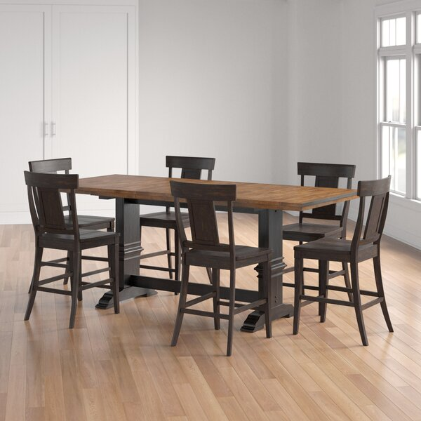 Fortville 7 Piece Extendable Solid Wood Dining Set by Three Posts Three Posts