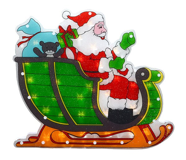 Double-Sided Shimmering Santa in Sleigh Christmas Window Silhouette Lighted Display by The Holiday Aisle