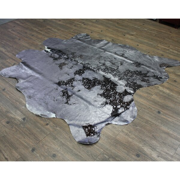 One-of-a-Kind Pardo Luxurious Hand-Woven Cowhide Gray Area Rug by Union Rustic