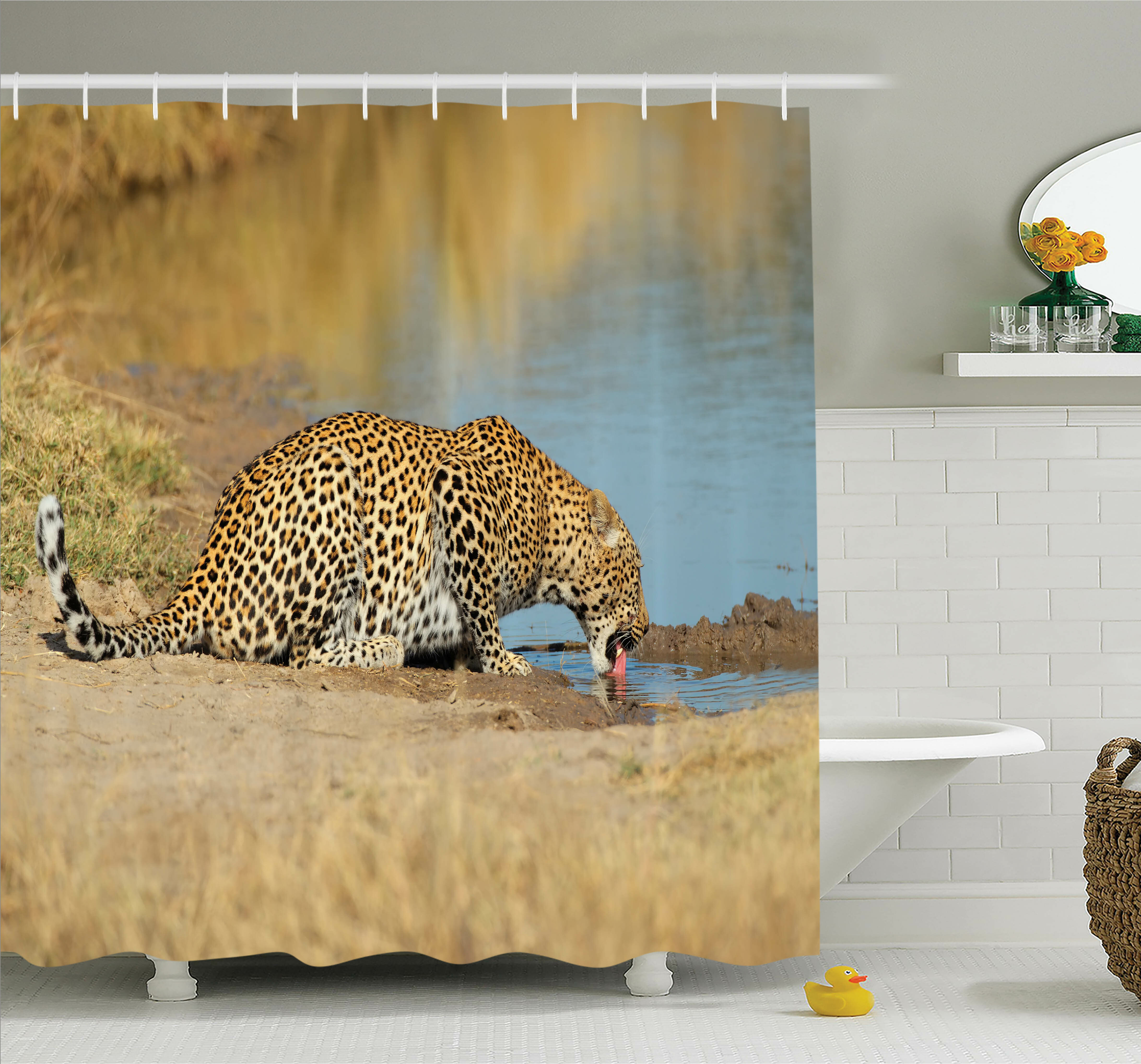 Ambesonne Animal Leopard In Africa Shower Curtain Set