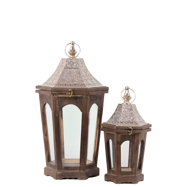 Home and Garden Accents 2 Piece Wood Lantern Set by Urban Trends