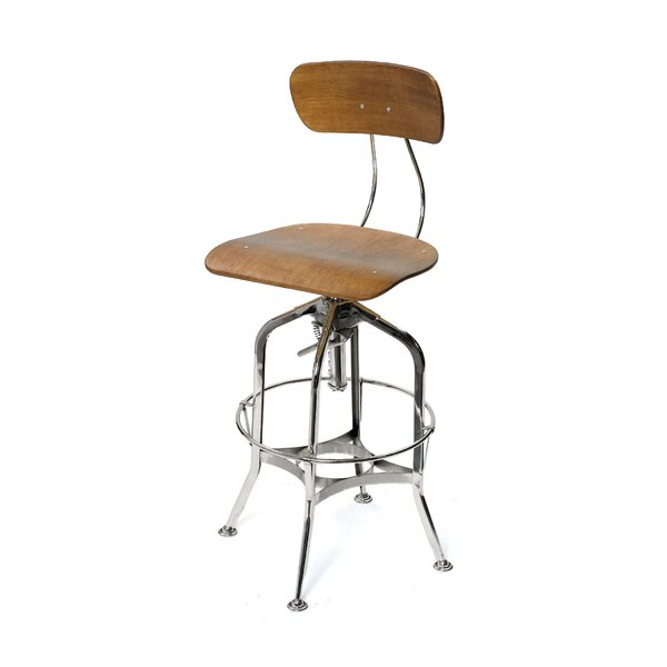 Seely Adjustable Height Swivel Bar Stool by 17 Stories