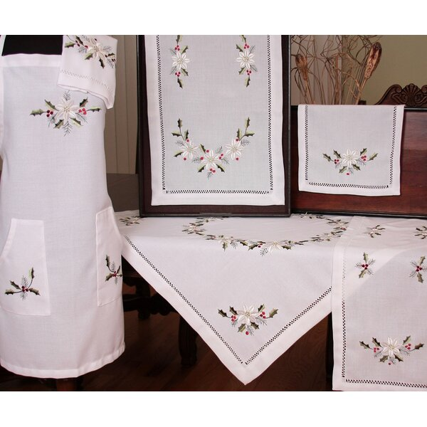 Country Poinsettia Embroidered Hemstitch Tablecloth by Xia Home Fashions