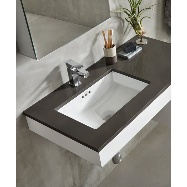 Essence Ceramic Rectangular Undermount Bathroom Sink with Overflow by Ronbow