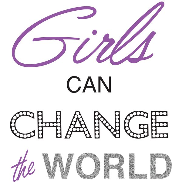5 Piece Girls Can Change the World Quote Wall Decal Set by WallPops!