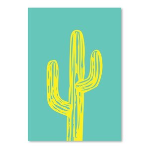 Cabrini Cactus on Teal Graphic Art by Wrought Studio