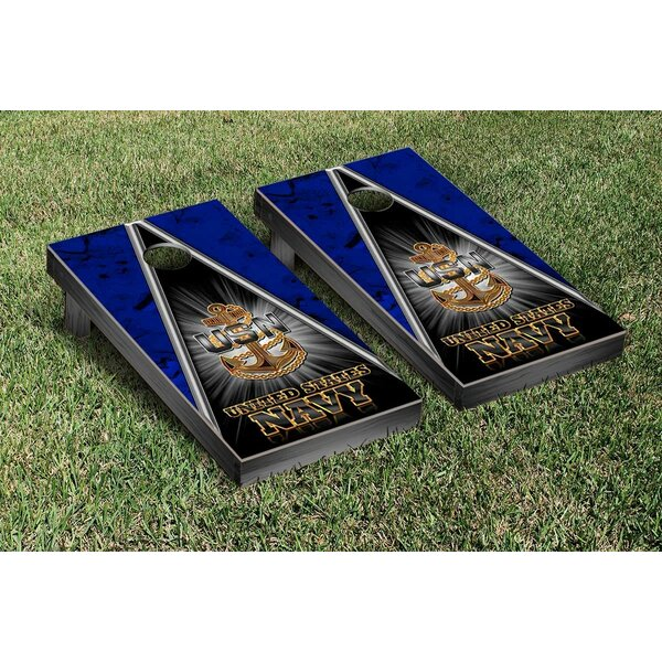 Navy Chief Triangle Cornhole Game Set by Victory Tailgate