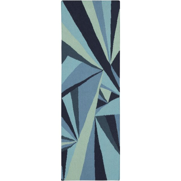 Voyages Navy Geometric Area Rug by Malene b