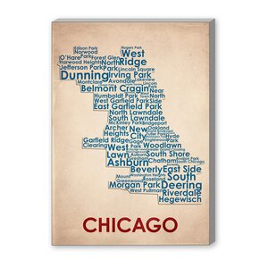 Chicago Textual Art on Canvas by Americanflat