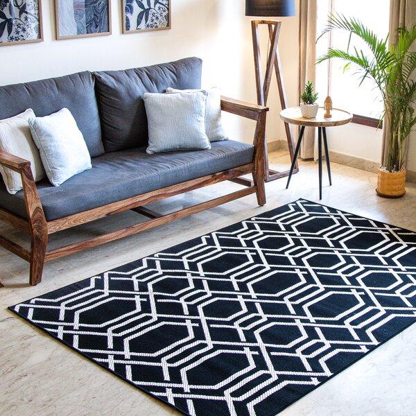 Bissonnette Geometric Black Indoor/Outdoor Area Rug