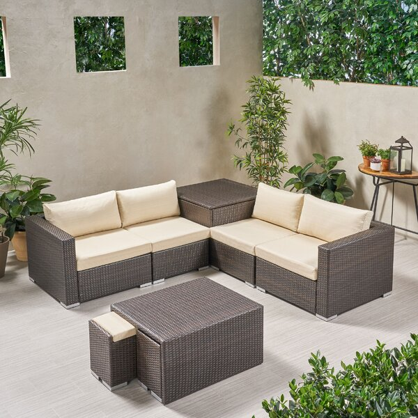 Lought Outdoor 7 Piece Rattan Sectional Seating Group with Cushions by Brayden Studio Brayden Studio