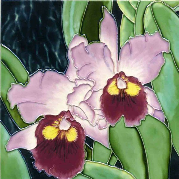 2 Lavender Orchids Tile Wall Decor by Continental Art Center