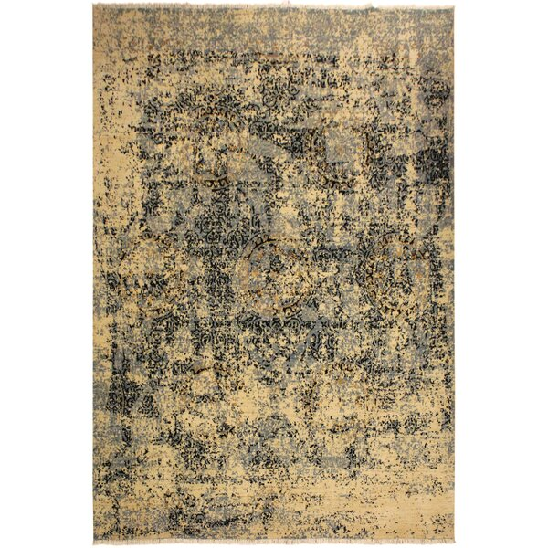 One-of-a-Kind Astrid Abstract Hand Knotted Wool Gold/Navy Area Rug by 17 Stories