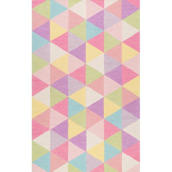 Doughton Hand-Hooked Wool Pink/Yellow Area Rug by Harriet Bee