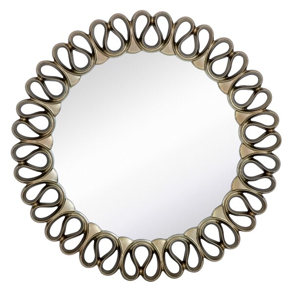 Stylish Contemporary Circular Pewter Framed Glass Wall Mirror by Majestic Mirror
