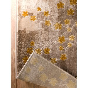 Anne Glamour Garden Taupe/Gold Area Rug