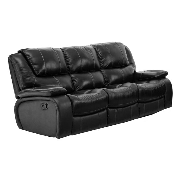 Hille Leather Reclining Sofa by Red Barrel Studio