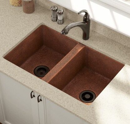 33 L x 22 W Equal Double Bowl Copper Undermount Kitchen Sink by Polaris Sinks