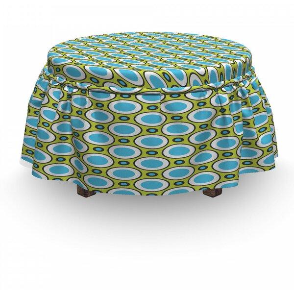 Geometric Retro Circle And Dots 2 Piece Box Cushion Ottoman Slipcover Set By East Urban Home