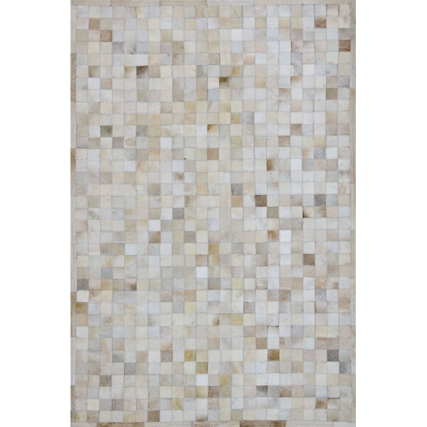 One-of-a-Kind Klahr Hand-Woven Cowhide Off White Area Rug by Latitude Run