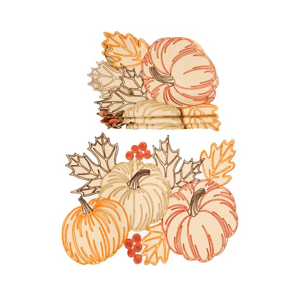 Palacios Pumpkin Party Embroidered Cutwork 14 Placemat (Set of 4) by August Grove