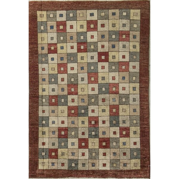 One-of-a-Kind Zarbof Quality Squares Hand-Knotted Wool Rustic Brown Area Rug by Bokara Rug Co., Inc.