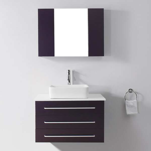 Canadice 36 Single Bathroom Vanity Set with White Stone Top and Mirror by Zipcode Design
