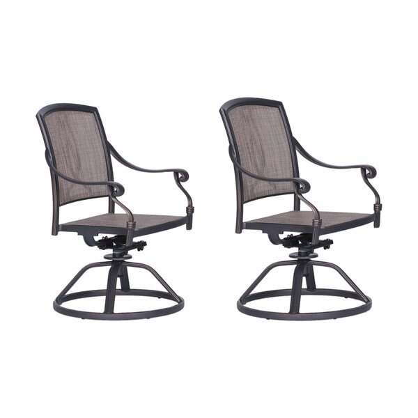 Beaufort Swivel Patio Dining Chair (Set of 2) by World Menagerie