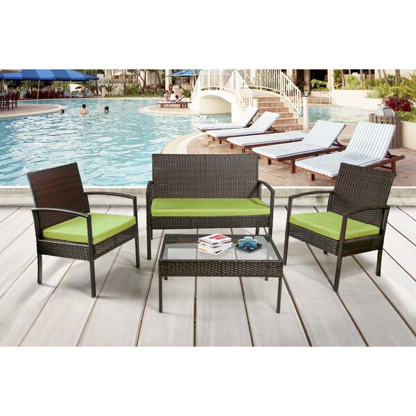 Kari 4 Piece Rattan Sofa Seating Group With Cushions By Andover Mills by Andover Mills Coupon