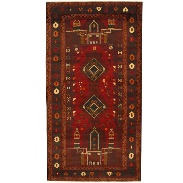 Prentice Tribal Balouchi Hand-Knotted Red/Green Area Rug by Isabelline
