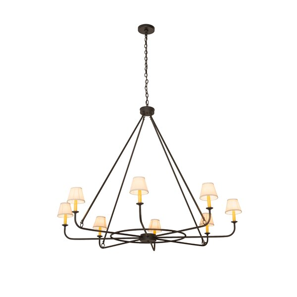 Hesser 8 - Light Candle Style Wagon Wheel Chandelier by Millwood Pines Millwood Pines