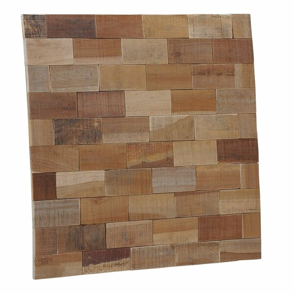 Terra Kayu Subway 15.75 x 15.75 Teakwood Hand-Painted Tile in Brown and Gray by Ecotessa