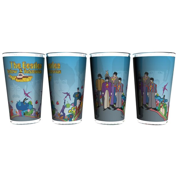 Beatles Yellow Submarine Halftone Sublimated Collectible Pint Glass by Boelter Brands