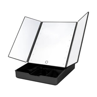 Affordable Ernest LED Mirror and Cosmetic Organizer Makeup/Shaving Mirror By Rebrilliant