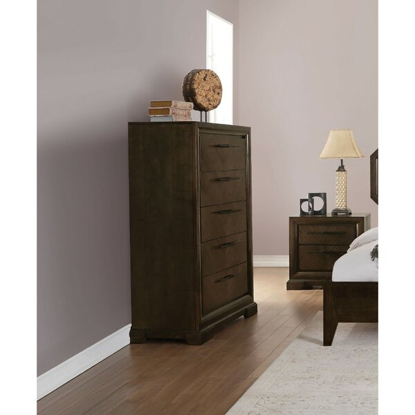 Cherri Transitional Style Wood and Metal 5 Drawer Chest by Canora Grey