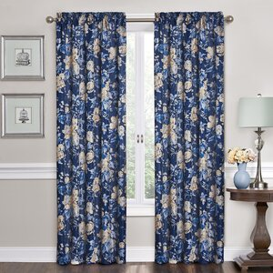 Forever Yours Nature/Floral Semi-Sheer Rod Pocket Single Curtain Panel