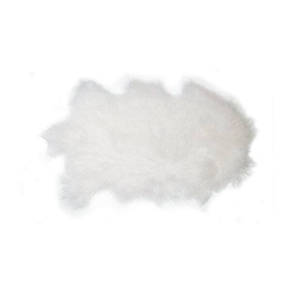 Wellington Mongolian Sheepskin Ivory Area Rug by House of Hampton
