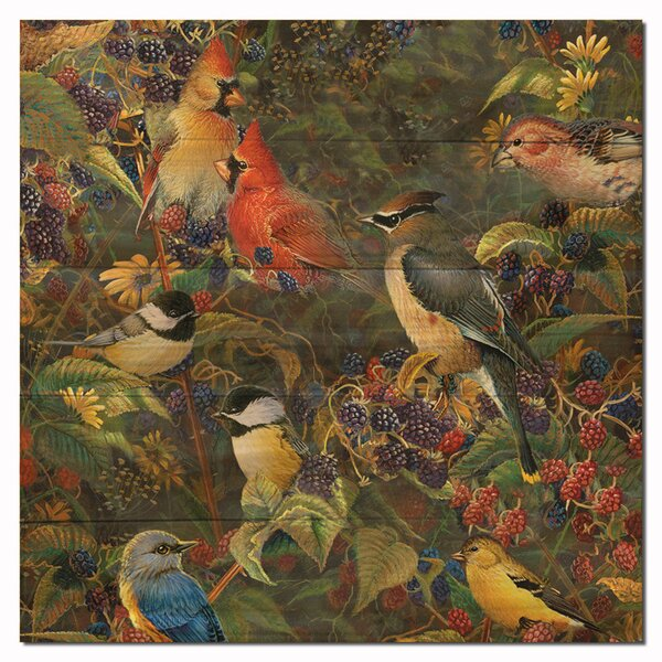 Berry Bush Songbirds Painting Print Plaque by WGI-GALLERY