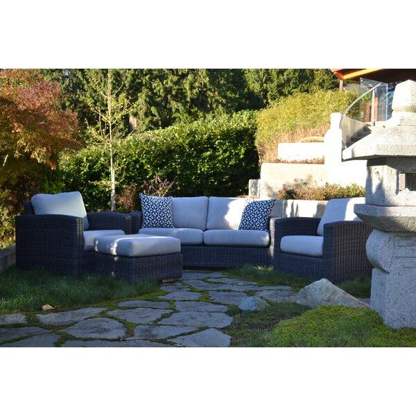 Peninsula Deep 4 Piece Sunbrella Sofa Seating Group with Cushions by E9-Halo