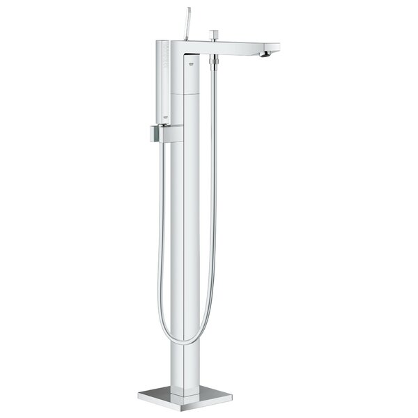 Eurocube Joy Single Handle Floor Mounted Tub Filler Trim with Hand Shower and Joystick Handle by Grohe