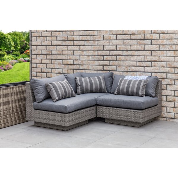 Herald Square Outdoor 3 Piece Rattan Sectional Set with Cushions by Brayden Studio