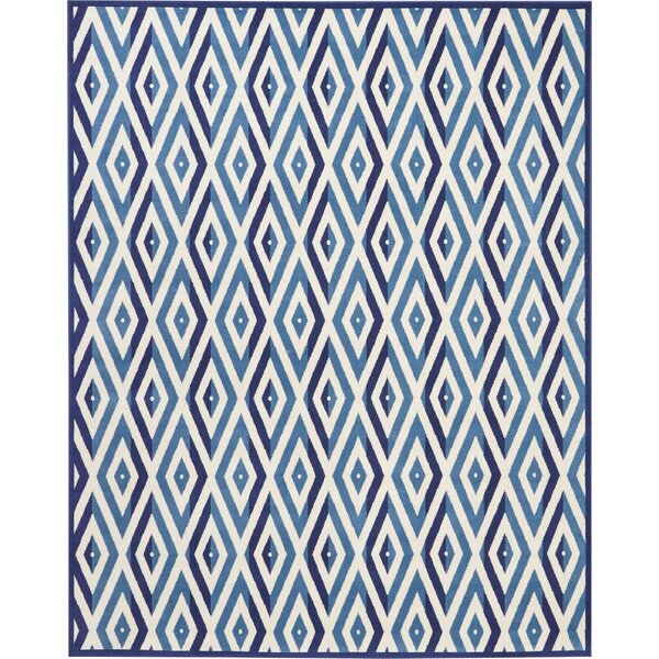 Burnie White/Blue Area Rug by Bungalow Rose